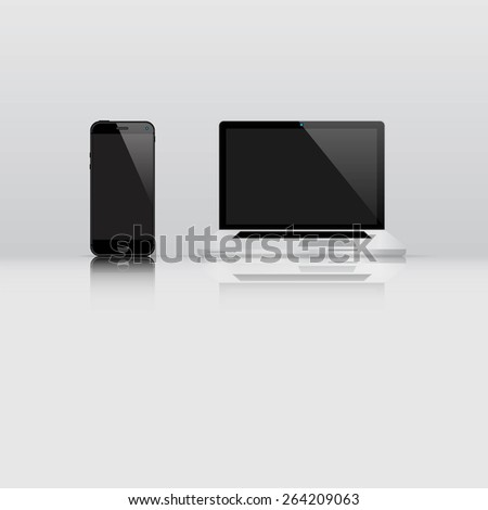Computer and smart phone. - stock vector