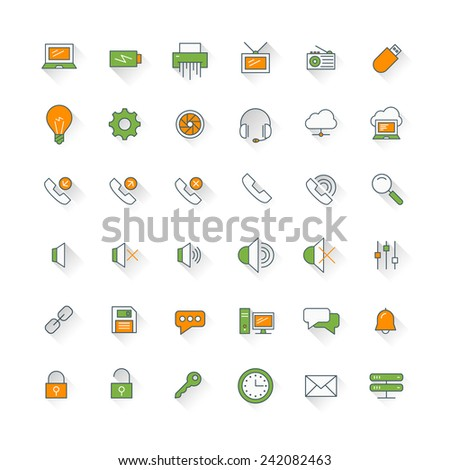 Computer and technology flat design icon set. Computer, phone, security, mail - stock vector