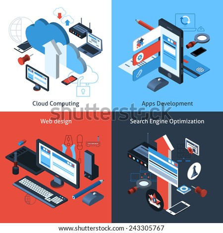 Computer and web design concept set with cloud computing apps development search engine optimization isometric icons vector illustration - stock vector