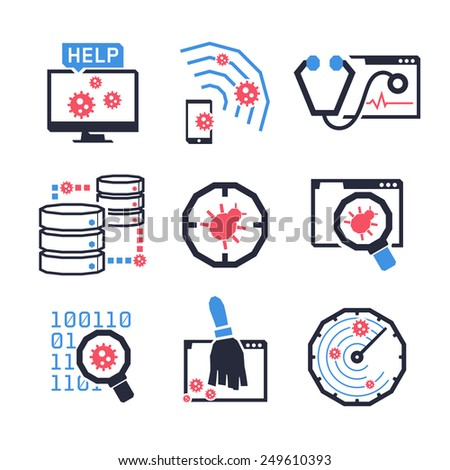 Computer Anti Virus icons set // Color - stock vector