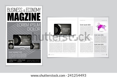 Computer, business and economy magazine layout. Vector - stock vector
