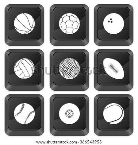 Computer buttons sports isolated on a white background. Vector illustration. - stock vector