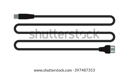Computer cable usb connection and computer equipment data connect cable. Computer cable digital cord connector internet power line. Cable wire computer usb plug connection technology .  - stock vector