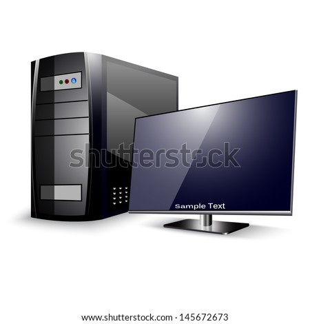 Computer Case with Monitor - stock vector