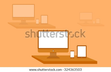 Computer,cell-phone and tablet on a table on orange background - stock vector