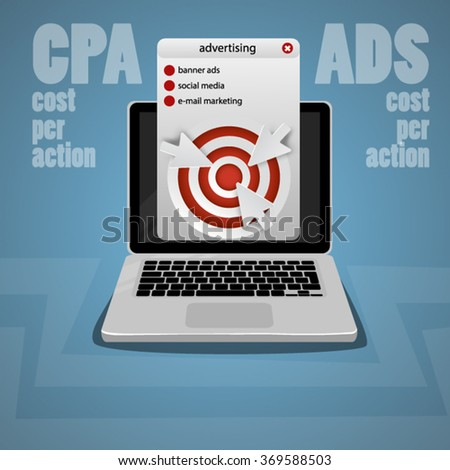 Computer click banner ads CPA cost per action - stock vector