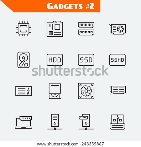 Computer components icon set: processor, motherboard, RAM, video card, hdd,ssd, sshd, power unit, cd-rom, cooler, server,adapter - stock vector