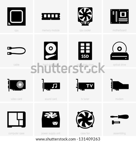 Computer components icons - stock vector