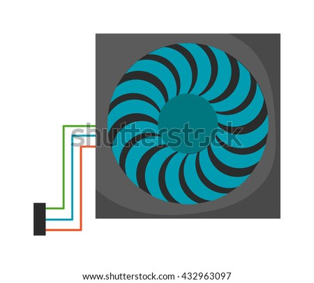Computer cooler isolated on white background and computer cooler vector icon. Cooling processor black part computer cooler and computer cooler device component electric industry ventilator. - stock vector