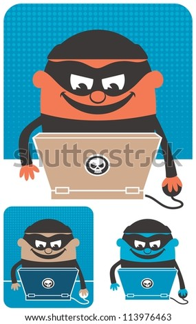 Computer Crime: Criminal using computer to commit crime. The illustration is in 3 versions. No transparency and gradients used. - stock vector