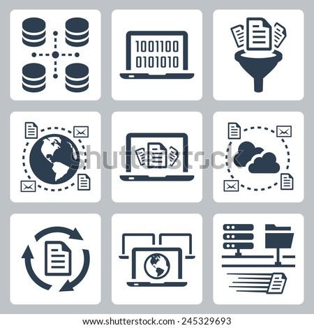 Computer data related vector icon set - stock vector