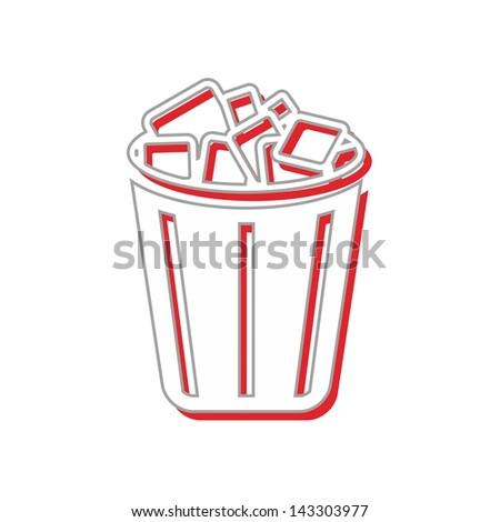 computer desktop element icon recycle bin - stock vector