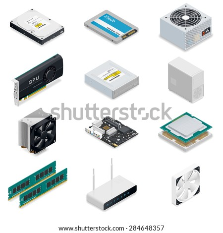 Computer detailed isometric parts vector graphic illustration - stock vector