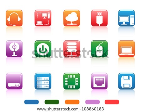 computer devices and components buttons icon - stock vector