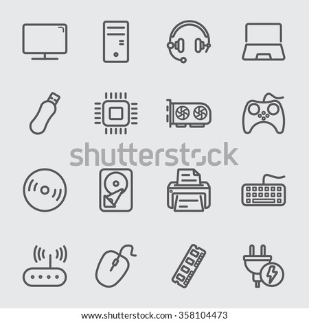 Computer devices line icon - stock vector