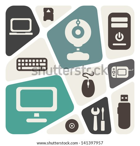 Computer devices theme abstract background - stock vector