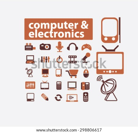 computer, electronics, gadgets, icons, signs, illustrations set, vector - stock vector