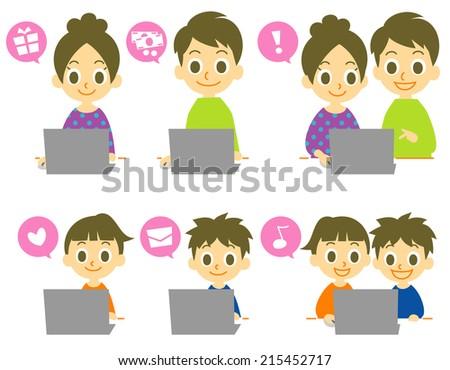 computer family - stock vector