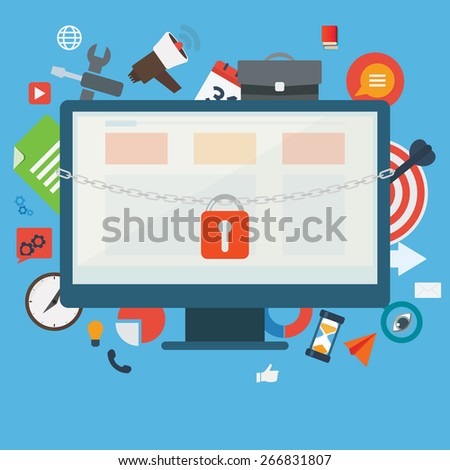 Computer files and application protected by a chain and padlock vector illustration. Data safety concept. - stock vector