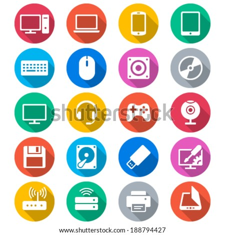 Computer flat color icons - stock vector