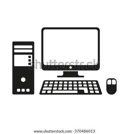 Computer flat icon in black on white. Vector illustration - stock vector