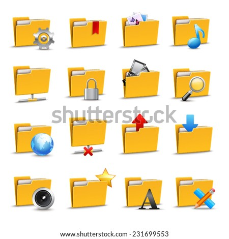 Computer folders files and archives document search icons set isolated vector illustration - stock vector