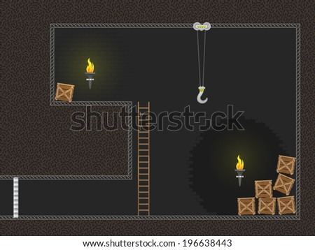 Computer game dungeon - stock vector