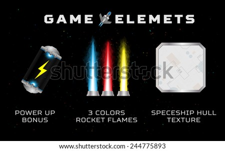 Computer game elements: power up, rocket fire, spaceship hull (seamless pattern) - stock vector