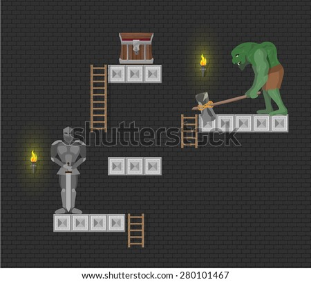 Computer game level elements on dark background  - stock vector