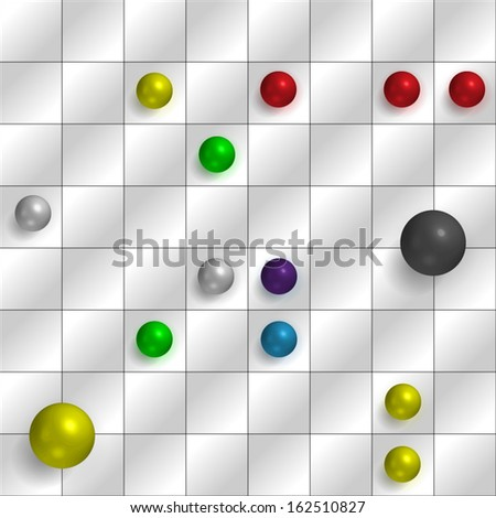 Computer game screen with checkers and spheres - stock vector