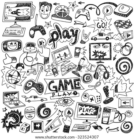 computer games doodles - stock vector