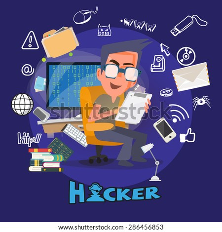 Computer Hacker in  hacking action with icons. typographic design - vector illustration - stock vector