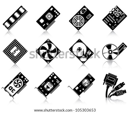 Computer hardware /  12 computer hardware silhouettes with reflections. - stock vector