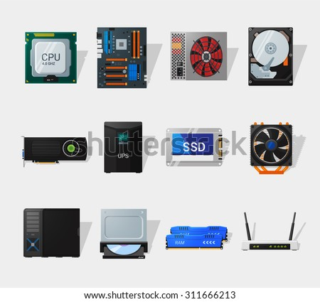 Computer hardware icons in flat style. Detailed flat style. Different computer parts. CPU, motherboard, HDD, SSD and video card. - stock vector