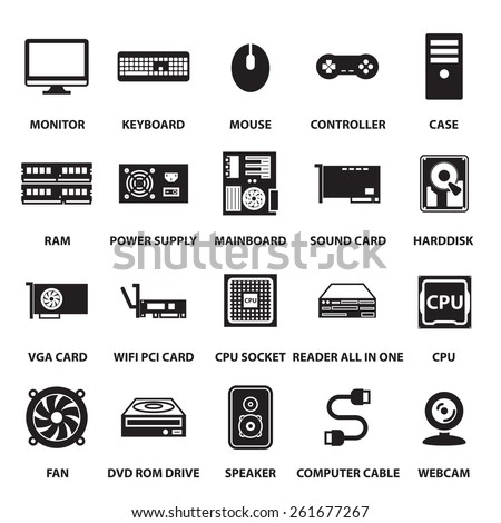 computer hardware icons set - stock vector