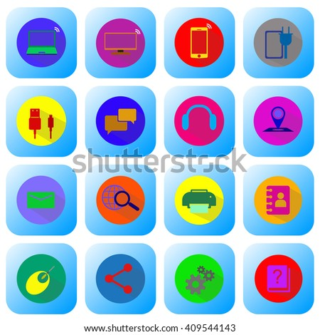 computer icon And accessories - stock vector