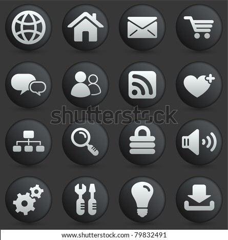 Computer Icon on Round Black and White Button Collection Original Illustration - stock vector