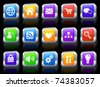 Computer Icon on Square Button with Metallic Rim Collection Original Illustration - stock vector