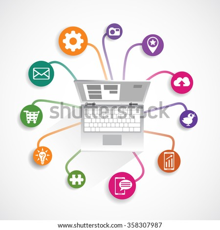 Computer icon set. Vector created illustration, isolated objects. Communication icons set, connected to computer.  - stock vector