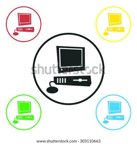 Computer icon,  vector illustration. Flat design style - stock vector