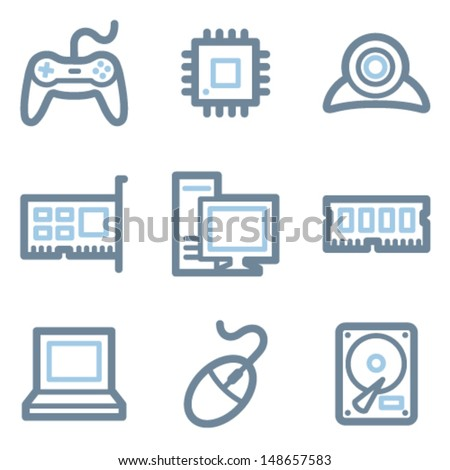 Computer icons, blue line contour series - stock vector
