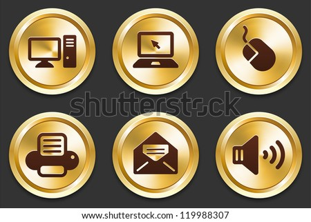 Computer Icons on Gold Button Collection Original Illustration - stock vector