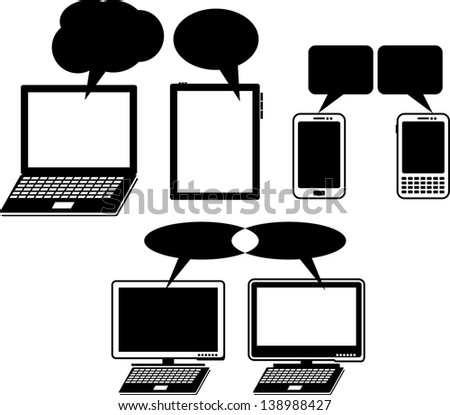 computer icons with speech bubbles - stock vector