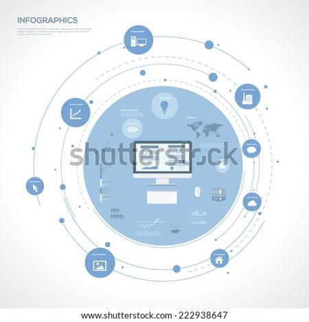 Computer Infographic Elements. Flat Vector illustration - stock vector