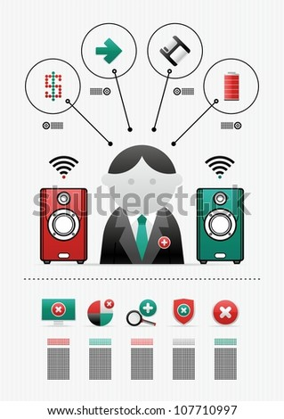 computer infographics and icons - stock vector