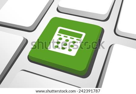 Computer Key : Calculator Icon Vector - stock vector