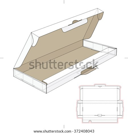 Computer Keyboard Box with Die Cut Template - stock vector