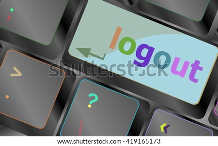 Computer keyboard key log out, business concept vector illustration vector keyboard key. keyboard button. Vector illustration. Keyboard keys. Keyboard button. Keyboard icon. Vector keyboard flat icon - stock vector
