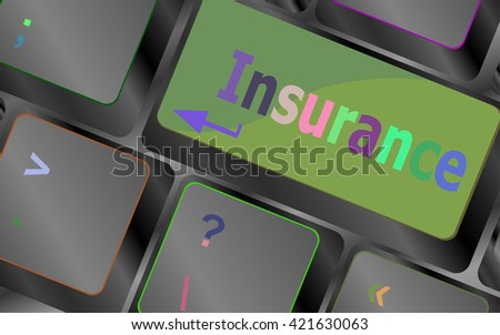 Computer Keyboard with Key Insurance vector keyboard key. keyboard button. Vector illustration. Keyboard keys. Keyboard button. Keyboard icon. Vector keyboard flat icon - stock vector