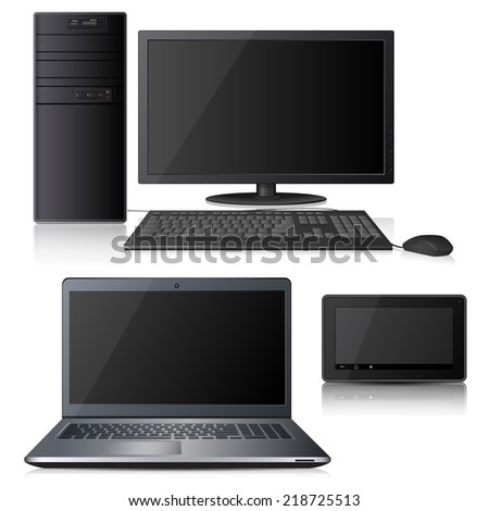 computer, laptop and tablet with reflection on white background - stock vector